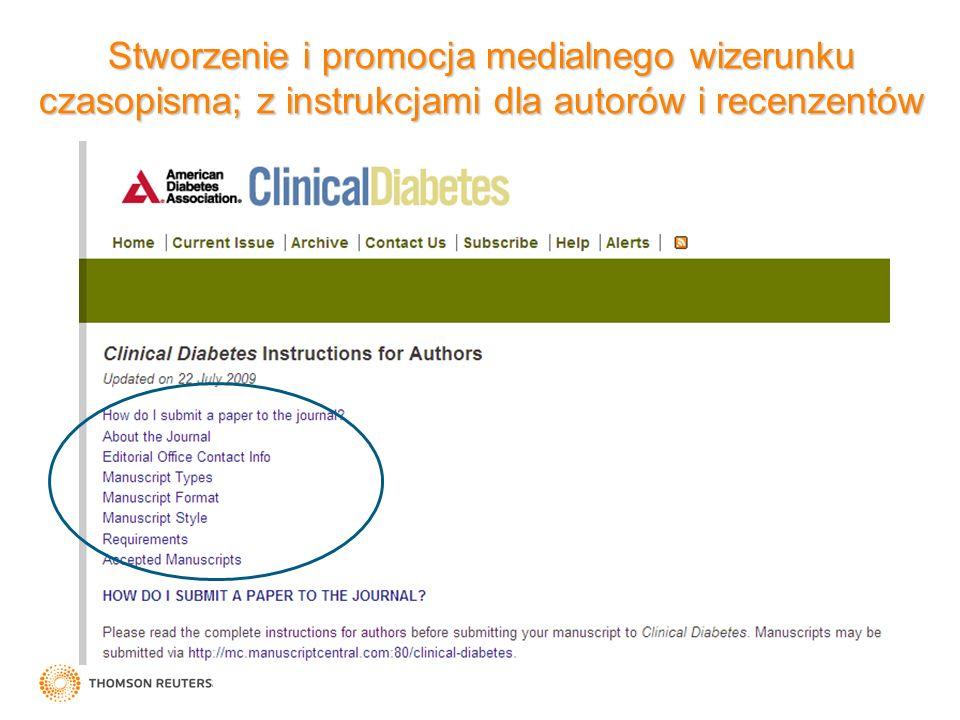Stworzenie i promocja medialnego wizerunku czasopisma; z instrukcjami dla autorów i recenzentów