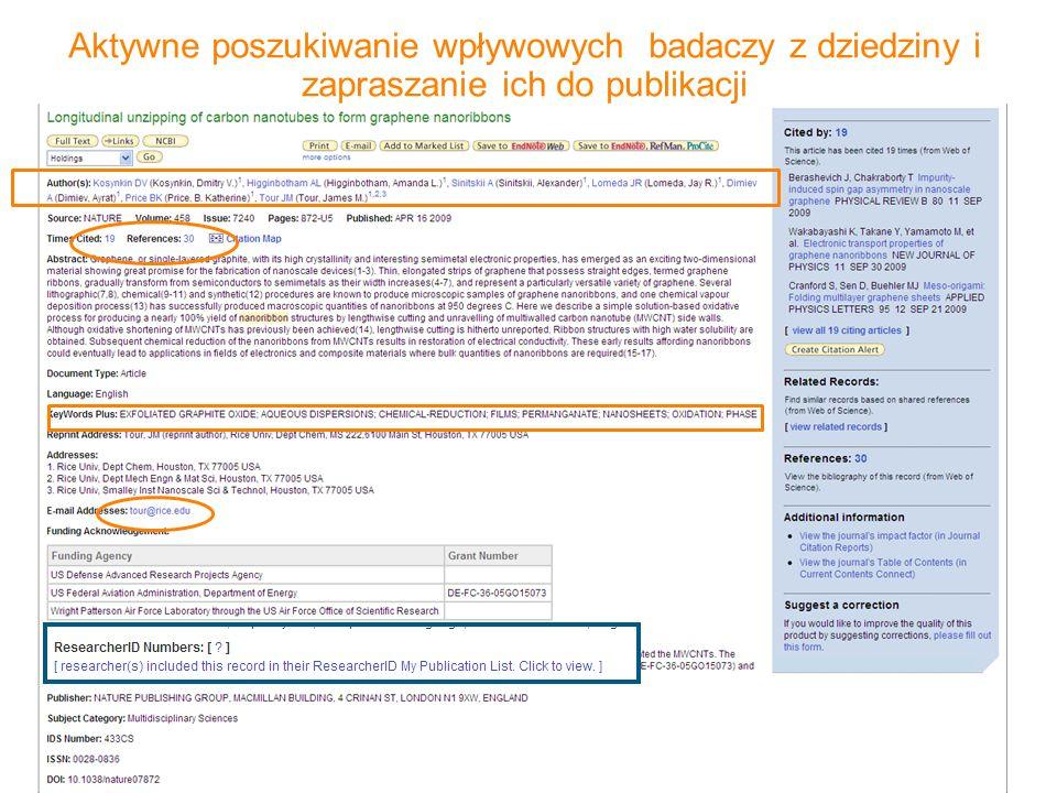 Aktywne poszukiwanie wpływowych badaczy z dziedziny i zapraszanie ich do publikacji