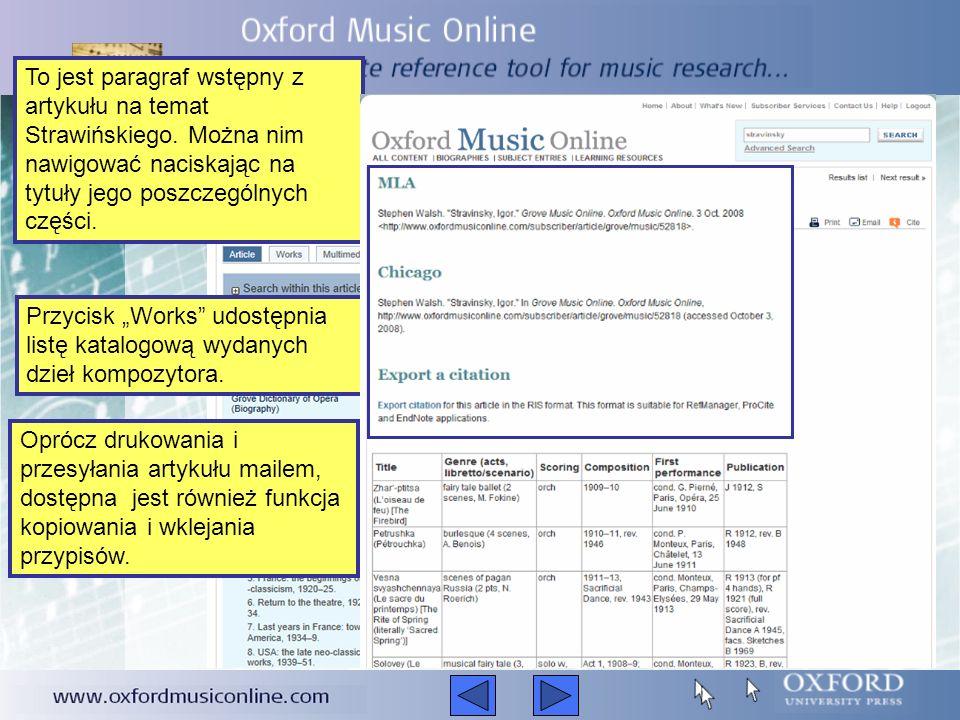 Aby wyszukać kompozytora, muzyka, styl muzyczny, utwór, instrument czy festiwal, należy wpisać poszukiwane hasło w pole wyszukiwarki widoczne w prawym górnym rogu strony.