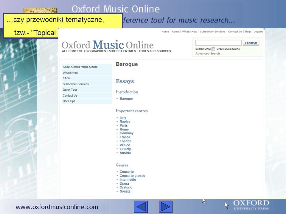 Są to - na przykład - muzyczne osie czasu – Musical Time Lines…