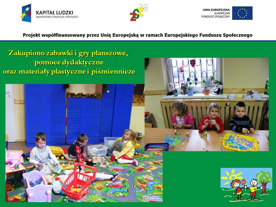 Zakupiono zabawki i gry planszowe, pomoce dydaktyczne oraz materiały plastyczne i piśmiennicze