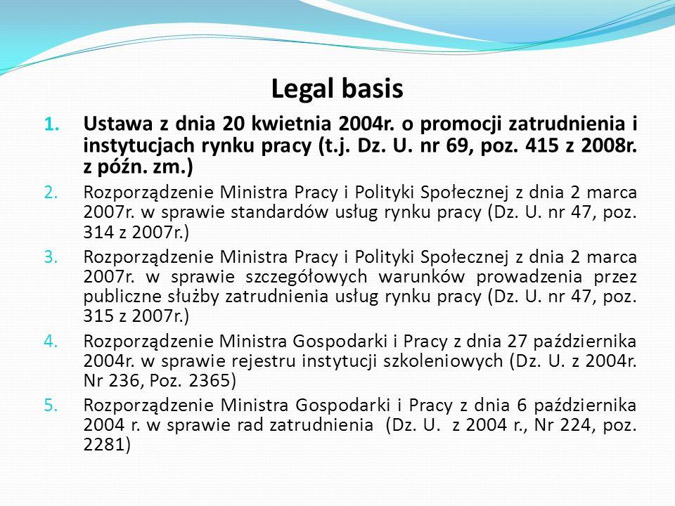 Legal basis 1. Ustawa z dnia 20 kwietnia 2004r. o promocji zatrudnienia i instytucjach rynku pracy (t.j. Dz. U. nr 69, poz. 415 z 2008r. z późn. zm.)