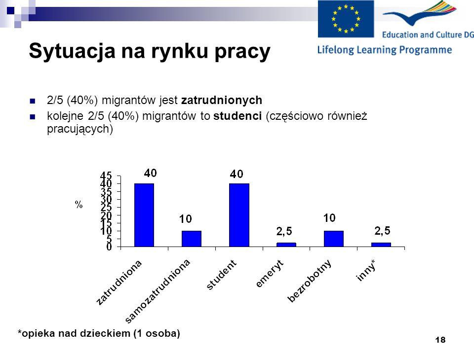 18 Sytuacja na rynku pracy *opieka nad dzieckiem (1 osoba) 2/5 (40%) migrantów jest zatrudnionych kolejne 2/5 (40%) migrantów to studenci (częściowo również pracujących)