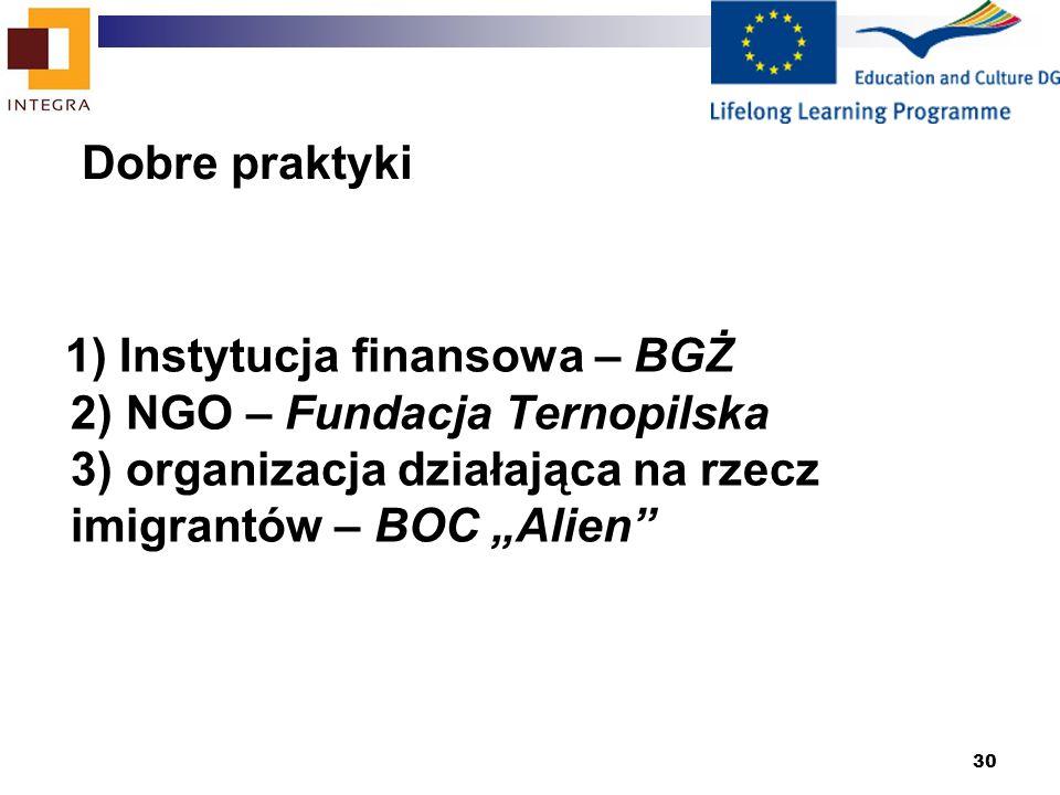 30 1) Instytucja finansowa – BGŻ 2) NGO – Fundacja Ternopilska 3) organizacja działająca na rzecz imigrantów – BOC Alien Dobre praktyki