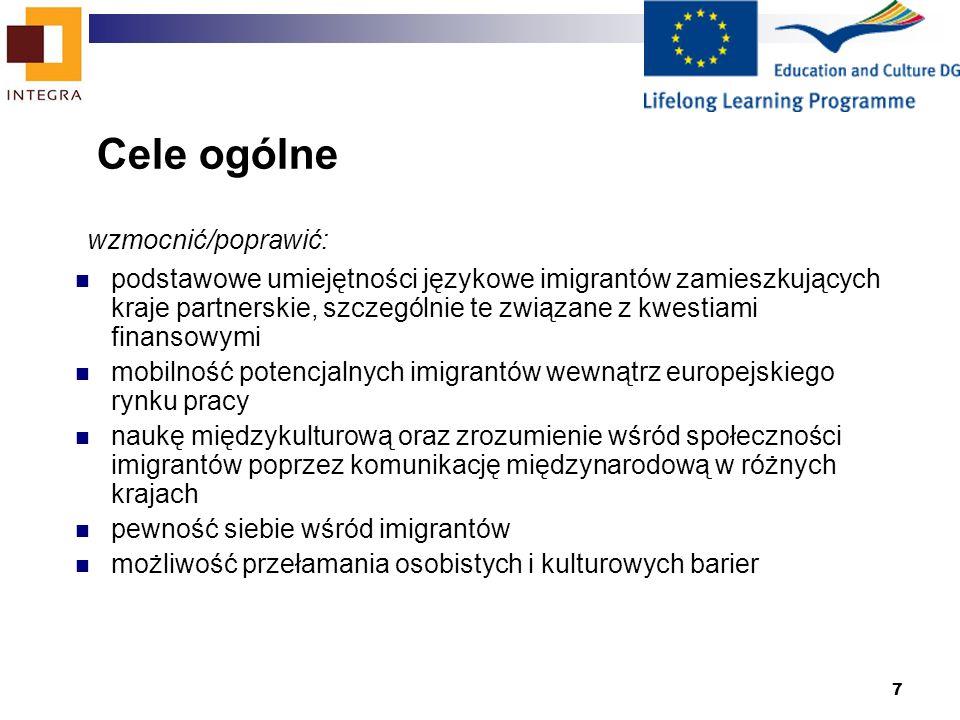 7 Cele ogólne wzmocnić/poprawić: podstawowe umiejętności językowe imigrantów zamieszkujących kraje partnerskie, szczególnie te związane z kwestiami finansowymi mobilność potencjalnych imigrantów wewnątrz europejskiego rynku pracy naukę międzykulturową oraz zrozumienie wśród społeczności imigrantów poprzez komunikację międzynarodową w różnych krajach pewność siebie wśród imigrantów możliwość przełamania osobistych i kulturowych barier