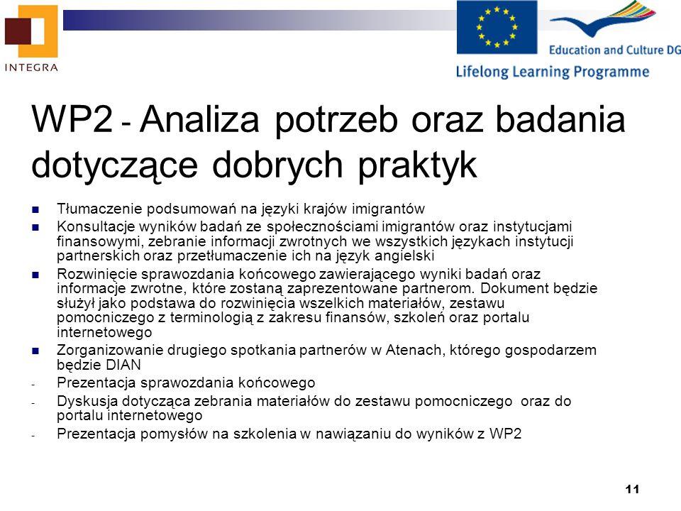 11 WP2 - Analiza potrzeb oraz badania dotyczące dobrych praktyk Tłumaczenie podsumowań na języki krajów imigrantów Konsultacje wyników badań ze społecznościami imigrantów oraz instytucjami finansowymi, zebranie informacji zwrotnych we wszystkich językach instytucji partnerskich oraz przetłumaczenie ich na język angielski Rozwinięcie sprawozdania końcowego zawierającego wyniki badań oraz informacje zwrotne, które zostaną zaprezentowane partnerom.