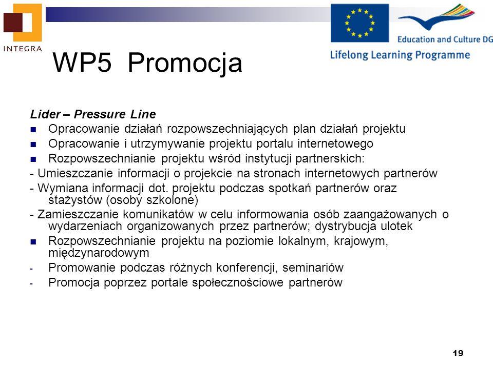 19 WP5 Promocja Lider – Pressure Line Opracowanie działań rozpowszechniających plan działań projektu Opracowanie i utrzymywanie projektu portalu internetowego Rozpowszechnianie projektu wśród instytucji partnerskich: - Umieszczanie informacji o projekcie na stronach internetowych partnerów - Wymiana informacji dot.