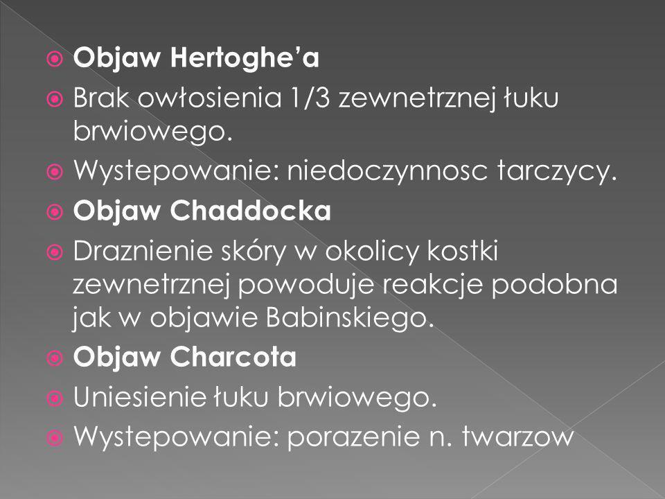 Objaw Hertoghea Brak owłosienia 1/3 zewnetrznej łuku brwiowego. Wystepowanie: niedoczynnosc tarczycy. Objaw Chaddocka Draznienie skóry w okolicy kostk