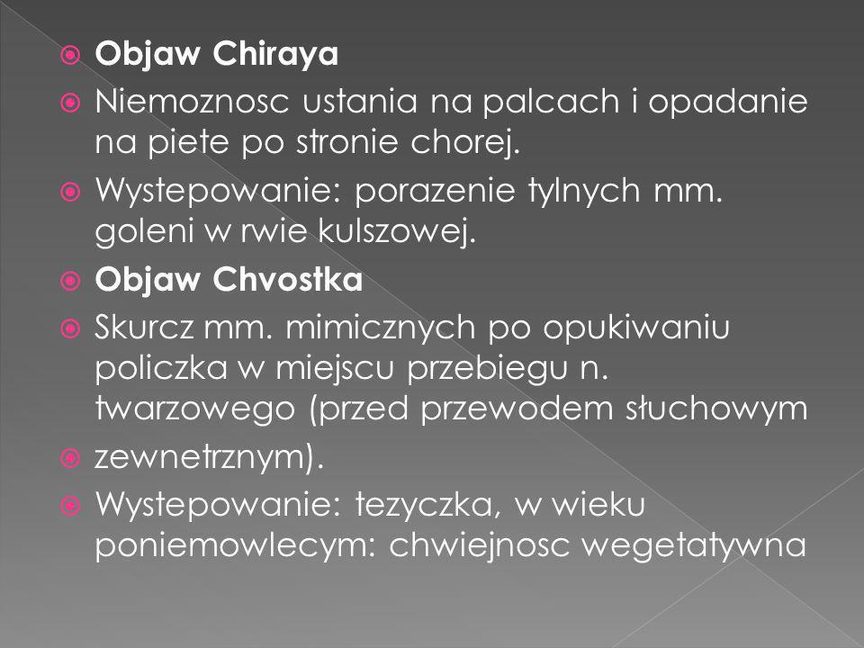 Objaw Chiraya Niemoznosc ustania na palcach i opadanie na piete po stronie chorej. Wystepowanie: porazenie tylnych mm. goleni w rwie kulszowej. Objaw