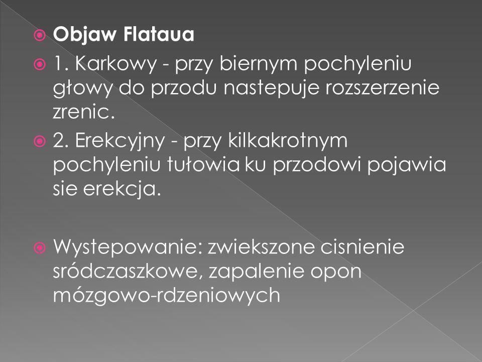 Objaw Flataua 1. Karkowy - przy biernym pochyleniu głowy do przodu nastepuje rozszerzenie zrenic. 2. Erekcyjny - przy kilkakrotnym pochyleniu tułowia