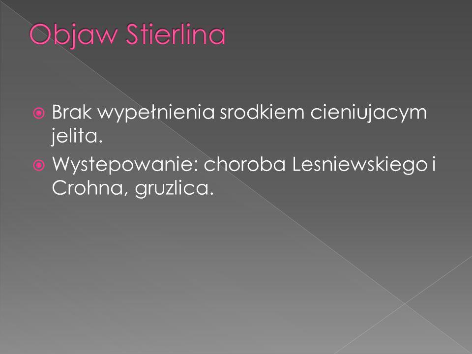 Brak wypełnienia srodkiem cieniujacym jelita. Wystepowanie: choroba Lesniewskiego i Crohna, gruzlica.