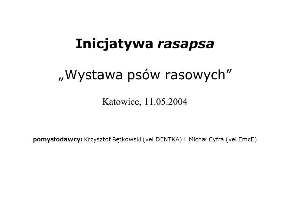 Inicjatywa rasapsa Wystawa psów rasowych, Katowice 11.05.2004 Od lewej stoją: Jacek, Paweł, Marton, Piotrek, Łukasz (vel GLOBUS), Karolina (vel MEDUZA), Bartek, Patryk i znajomi.