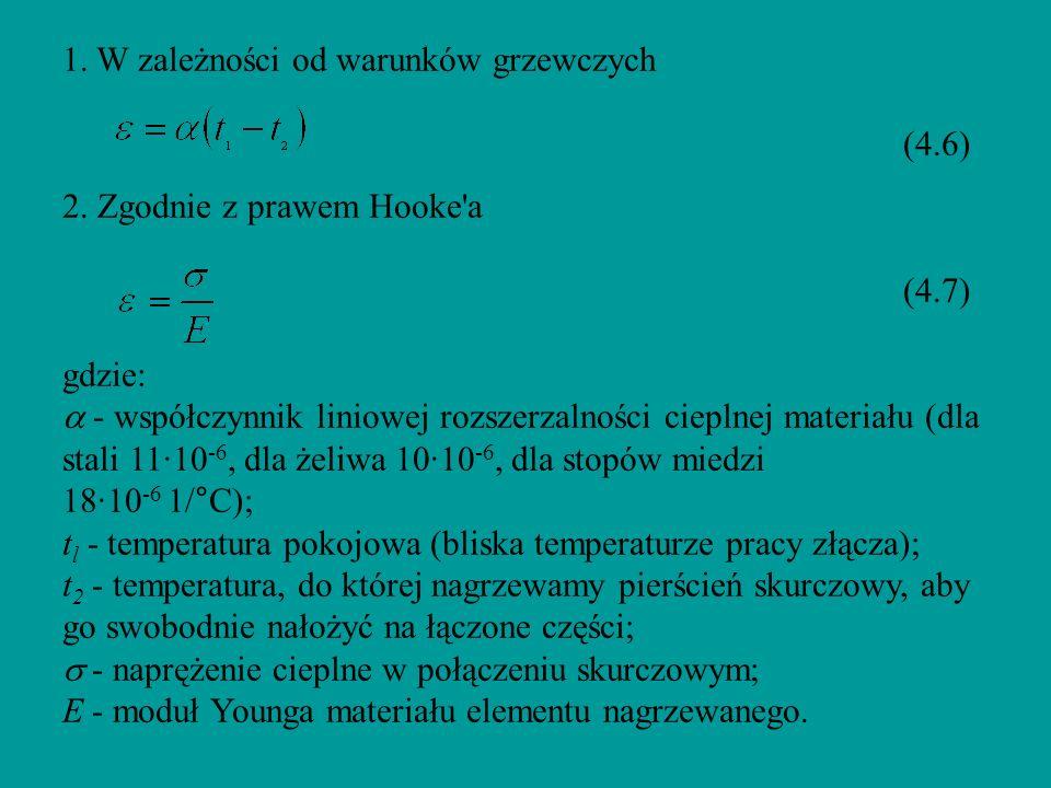 1. W zależności od warunków grzewczych (4.6) 2. Zgodnie z prawem Hooke'a (4.7) gdzie: - współczynnik liniowej rozszerzalności cieplnej materiału (dla