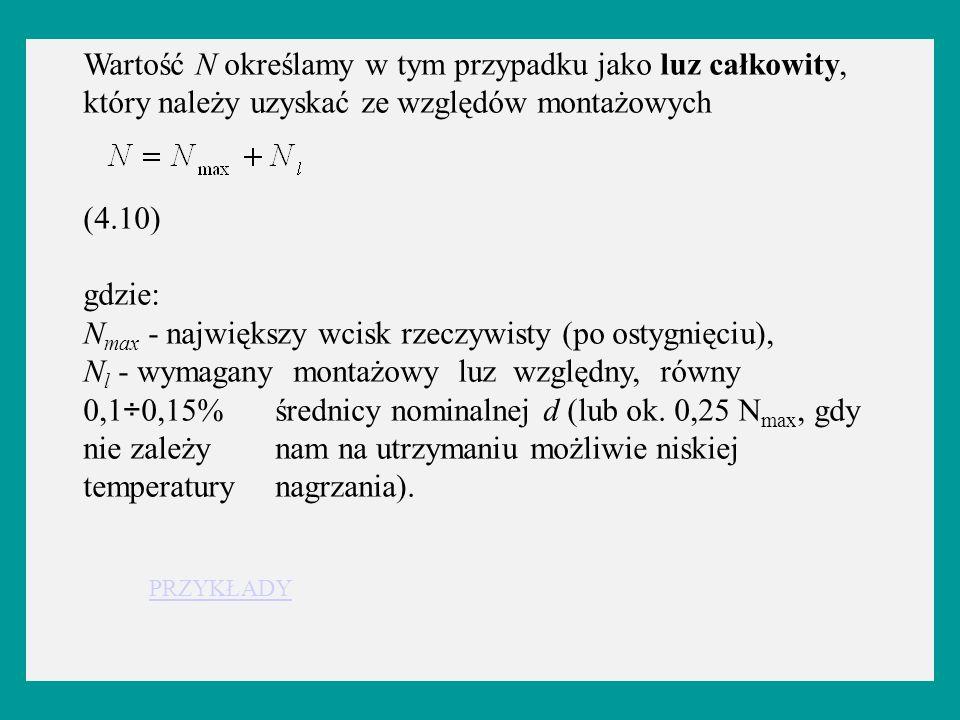 Wartość N określamy w tym przypadku jako luz całkowity, który należy uzyskać ze względów montażowych (4.10) gdzie: N max - największy wcisk rzeczywist