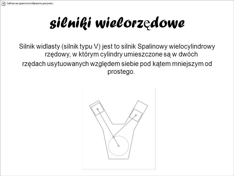 silniki wielorz ę dowe Silnik widlasty (silnik typu V) jest to silnik Spalinowy wielocylindrowy rzędowy, w którym cylindry umieszczone są w dwóch rzęd