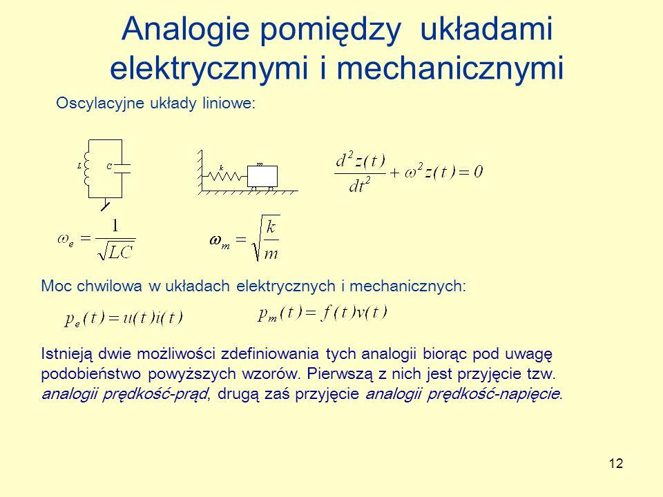 12 Analogie pomiędzy układami elektrycznymi i mechanicznymi Moc chwilowa w układach elektrycznych i mechanicznych: Oscylacyjne układy liniowe: Istniej
