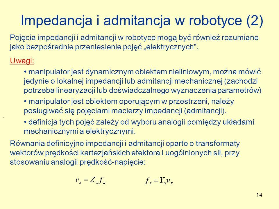 14 Impedancja i admitancja w robotyce (2) Pojęcia impedancji i admitancji w robotyce mogą być również rozumiane jako bezpośrednie przeniesienie pojęć