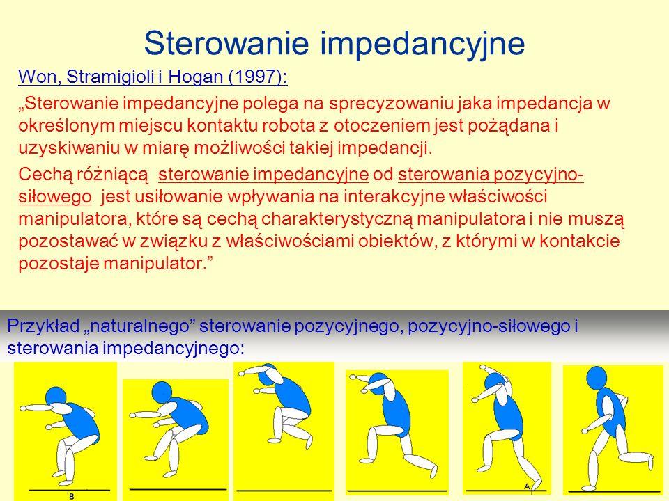 16 Sterowanie impedancyjne Przykład naturalnego sterowanie pozycyjnego, pozycyjno-siłowego i sterowania impedancyjnego: Won, Stramigioli i Hogan (1997