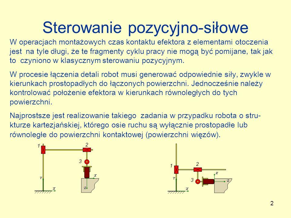 3 Sterowanie pozycyjno-siłowe robota kartezjańskiego Układ sterowania pozycyjno-siłowego (Raibert, Craig; 1981): Diagonalne macierze przełącznikowe: Sygnał s jest zapamiętany wraz z trajektorią pozycyjno-siłową i do- datkowo może być korygowany na podstawie sygnałów z czujników sił lub czujników położenia (prędkości).