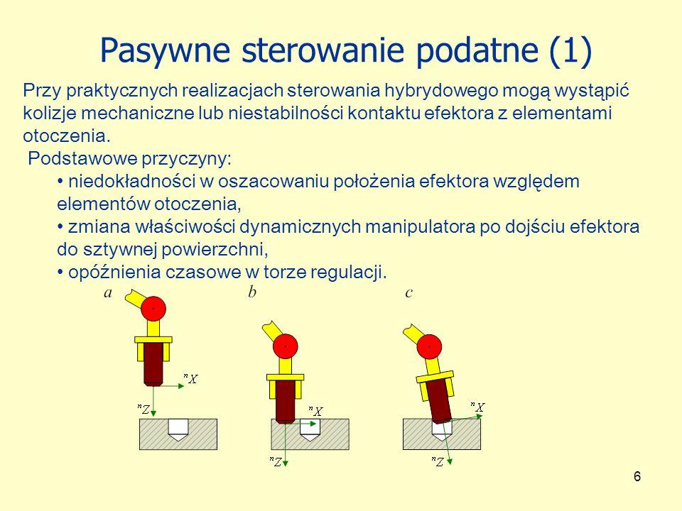 6 Pasywne sterowanie podatne (1) Przy praktycznych realizacjach sterowania hybrydowego mogą wystąpić kolizje mechaniczne lub niestabilności kontaktu e