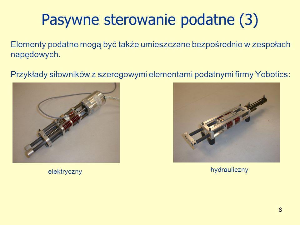 19 Zastosowanie sterowania impedancyjnego w robotyce Obszary zastosowań: wspólna realizacja operacji przez grupę robotów testowanie właściwości otoczenia robota roboty kroczące, biegające i skaczące Zmiana impedancji powoduje zmianę częstotliwości naturalnych oscylacji łańcucha kinematycznego Przykład aplikacji - RABBIT (Chevallerau, Abba i inni; 2003): Realizacja: modyfikacja naturalnych właściwości impedancyjnych napędu (np.