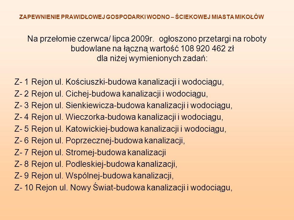 Na przełomie czerwca/ lipca 2009r. ogłoszono przetargi na roboty budowlane na łączną wartość 108 920 462 zł dla niżej wymienionych zadań: Z- 1 Rejon u