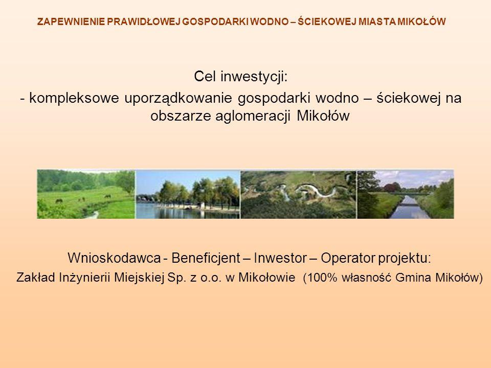 Cel inwestycji: - kompleksowe uporządkowanie gospodarki wodno – ściekowej na obszarze aglomeracji Mikołów Wnioskodawca - Beneficjent – Inwestor – Oper