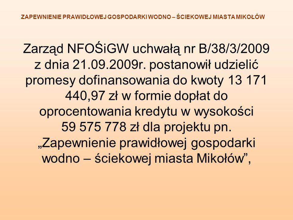 ZAPEWNIENIE PRAWIDŁOWEJ GOSPODARKI WODNO – ŚCIEKOWEJ MIASTA MIKOŁÓW Zarząd NFOŚiGW uchwałą nr B/38/3/2009 z dnia 21.09.2009r. postanowił udzielić prom