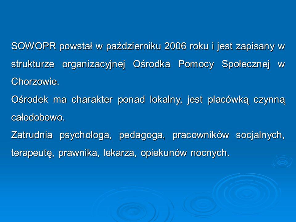 SOWOPR powstał w październiku 2006 roku i jest zapisany w strukturze organizacyjnej Ośrodka Pomocy Społecznej w Chorzowie.