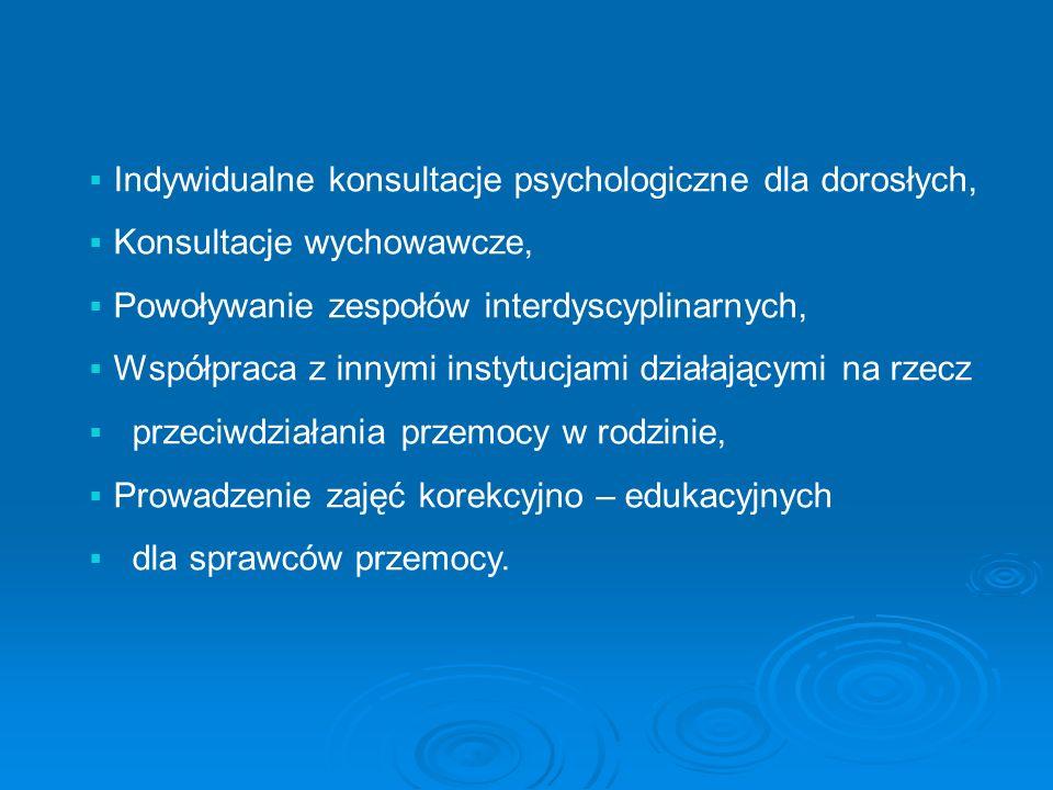 Indywidualne konsultacje psychologiczne dla dorosłych, Konsultacje wychowawcze, Powoływanie zespołów interdyscyplinarnych, Współpraca z innymi instytucjami działającymi na rzecz przeciwdziałania przemocy w rodzinie, Prowadzenie zajęć korekcyjno – edukacyjnych dla sprawców przemocy.