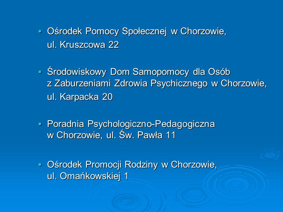 Ośrodek Pomocy Społecznej w Chorzowie, Ośrodek Pomocy Społecznej w Chorzowie, ul.