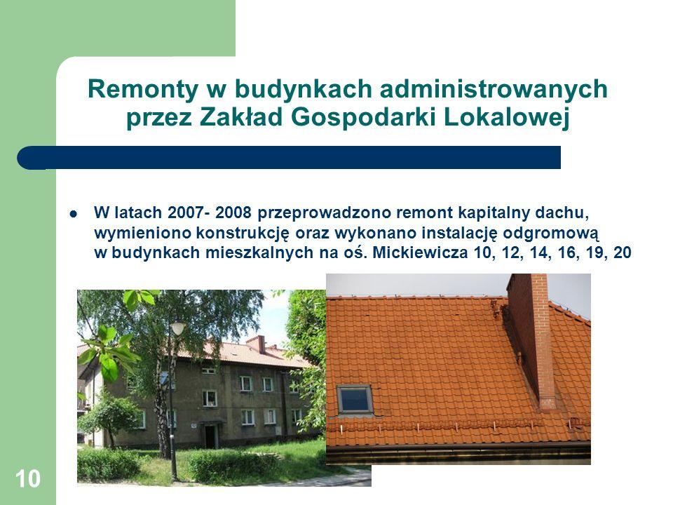10 Remonty w budynkach administrowanych przez Zakład Gospodarki Lokalowej W latach 2007- 2008 przeprowadzono remont kapitalny dachu, wymieniono konstrukcję oraz wykonano instalację odgromową w budynkach mieszkalnych na oś.