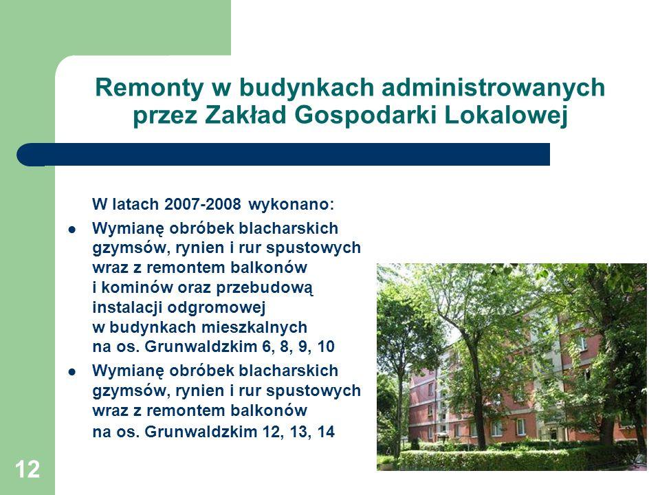 12 Remonty w budynkach administrowanych przez Zakład Gospodarki Lokalowej W latach 2007-2008 wykonano: Wymianę obróbek blacharskich gzymsów, rynien i rur spustowych wraz z remontem balkonów i kominów oraz przebudową instalacji odgromowej w budynkach mieszkalnych na os.