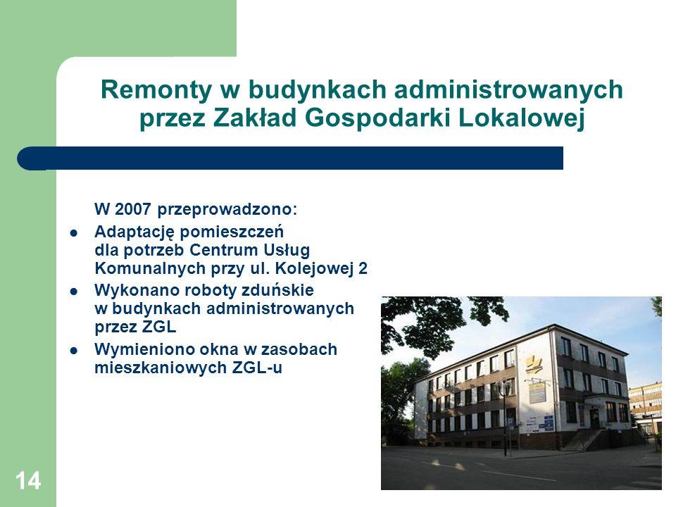 14 Remonty w budynkach administrowanych przez Zakład Gospodarki Lokalowej W 2007 przeprowadzono: Adaptację pomieszczeń dla potrzeb Centrum Usług Komunalnych przy ul.