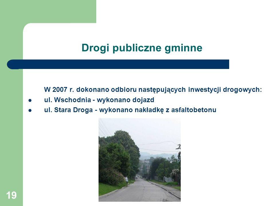 19 Drogi publiczne gminne W 2007 r.dokonano odbioru następujących inwestycji drogowych: ul.
