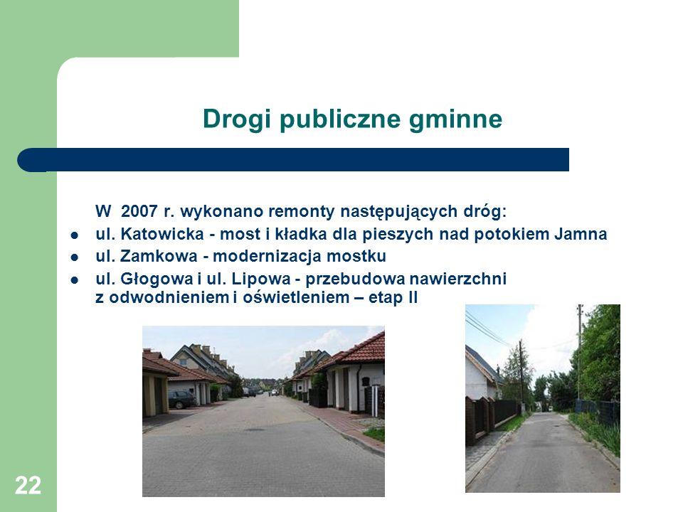 22 Drogi publiczne gminne W 2007 r.wykonano remonty następujących dróg: ul.
