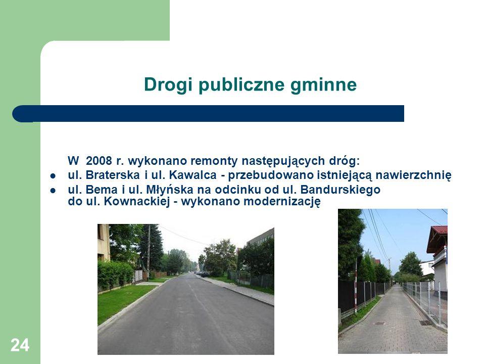 24 Drogi publiczne gminne W 2008 r.wykonano remonty następujących dróg: ul.