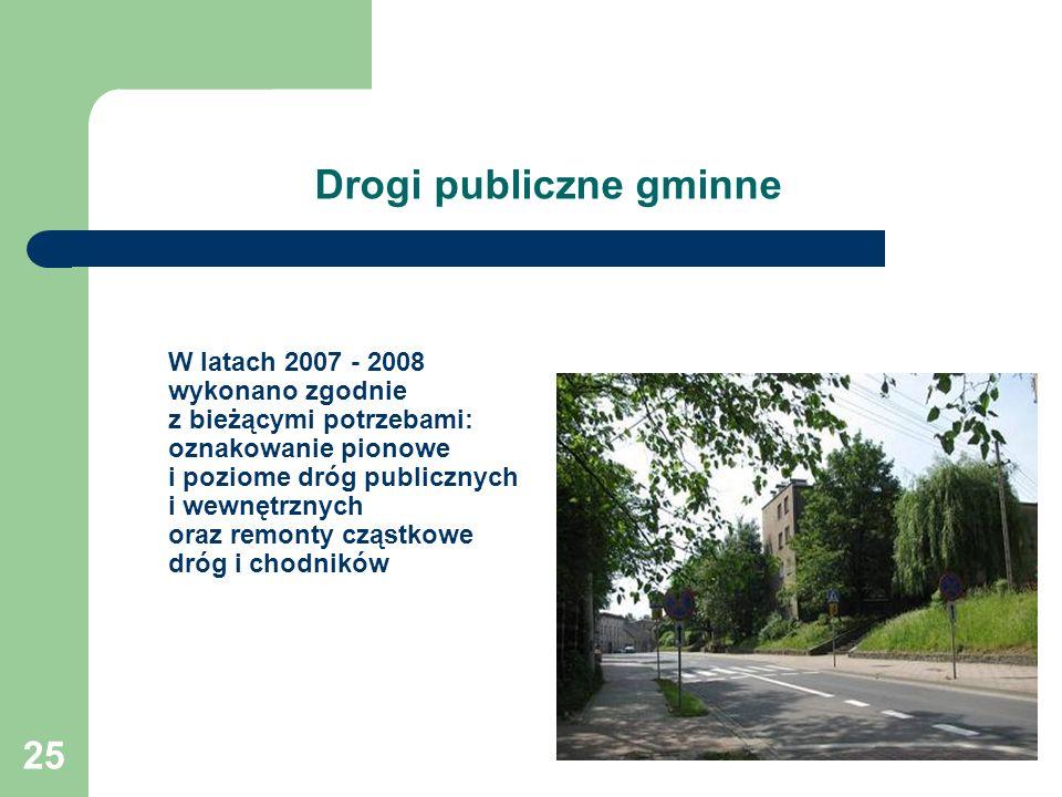 25 Drogi publiczne gminne W latach 2007 - 2008 wykonano zgodnie z bieżącymi potrzebami: oznakowanie pionowe i poziome dróg publicznych i wewnętrznych oraz remonty cząstkowe dróg i chodników