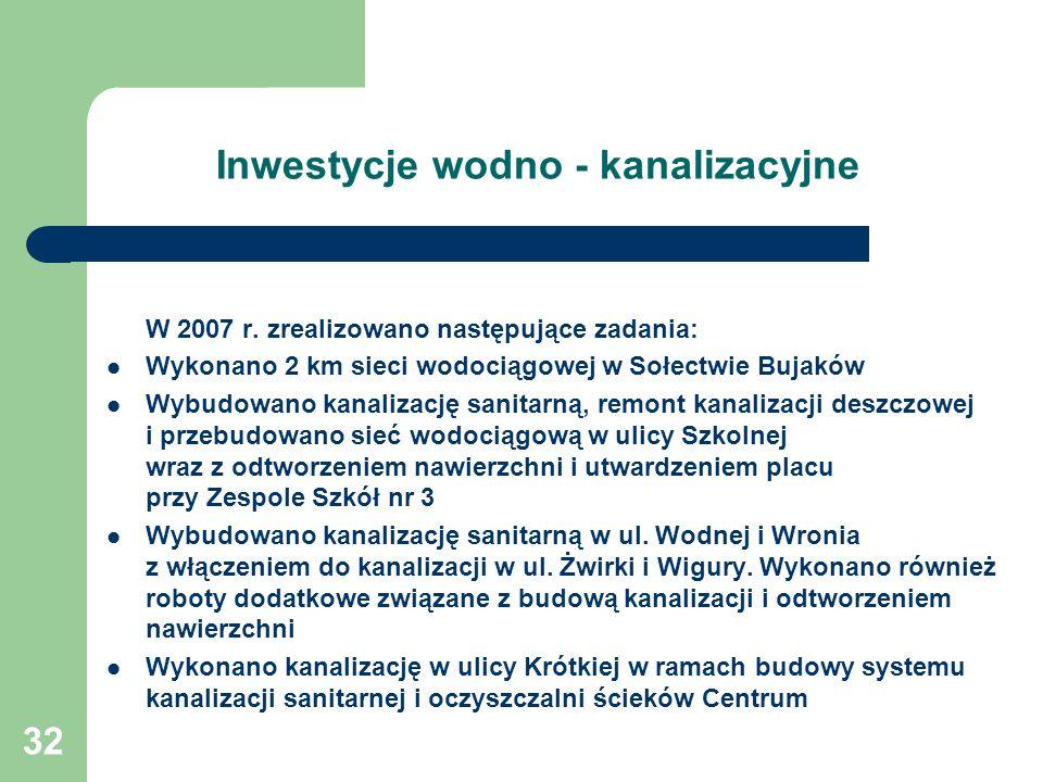 32 Inwestycje wodno - kanalizacyjne W 2007 r.
