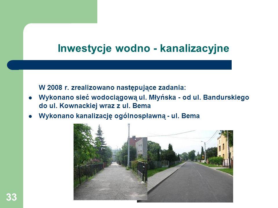 33 Inwestycje wodno - kanalizacyjne W 2008 r.