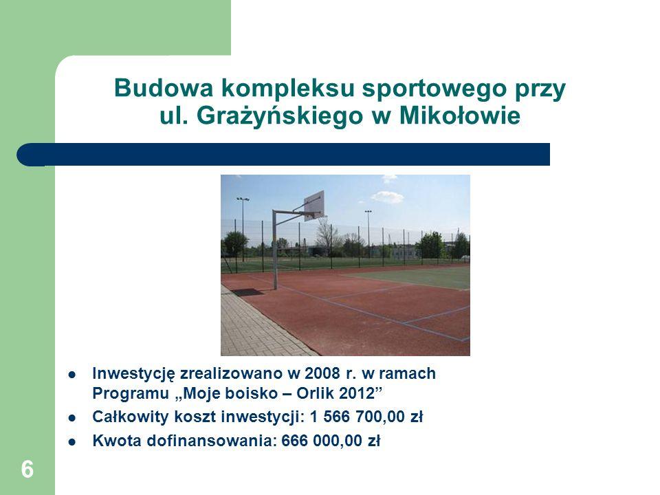 6 Budowa kompleksu sportowego przy ul.Grażyńskiego w Mikołowie Inwestycję zrealizowano w 2008 r.