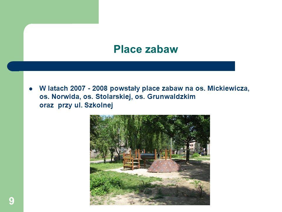 9 Place zabaw W latach 2007 - 2008 powstały place zabaw na os.