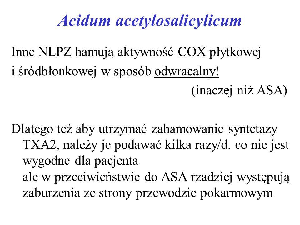 Acidum acetylosalicylicum Inne NLPZ hamują aktywność COX płytkowej i śródbłonkowej w sposób odwracalny.
