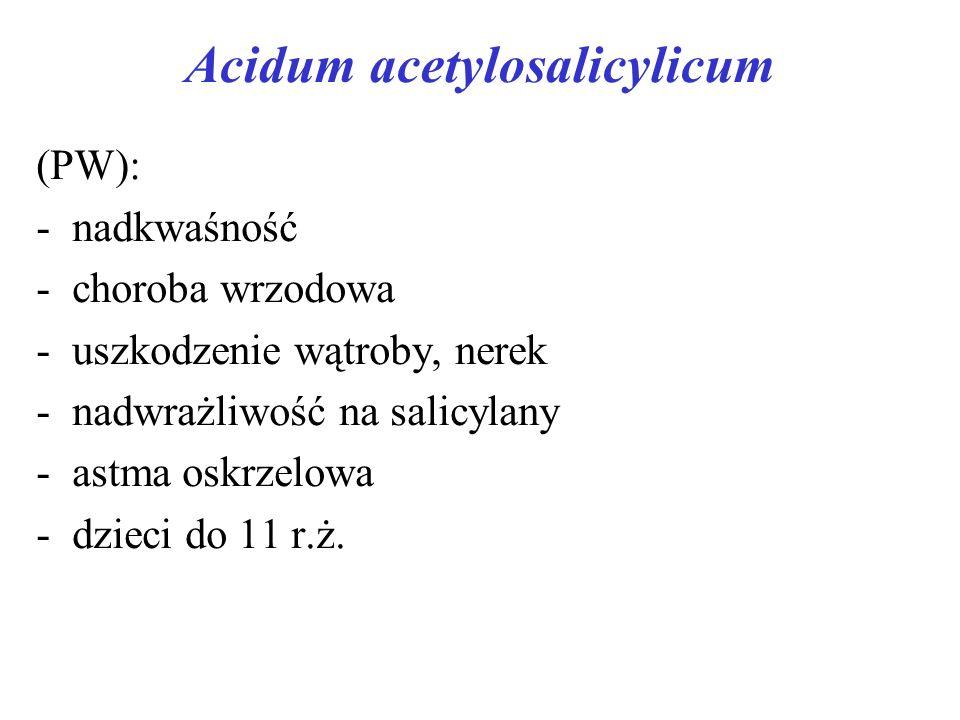 Acidum acetylosalicylicum (PW): - nadkwaśność -choroba wrzodowa -uszkodzenie wątroby, nerek -nadwrażliwość na salicylany -astma oskrzelowa -dzieci do 11 r.ż.