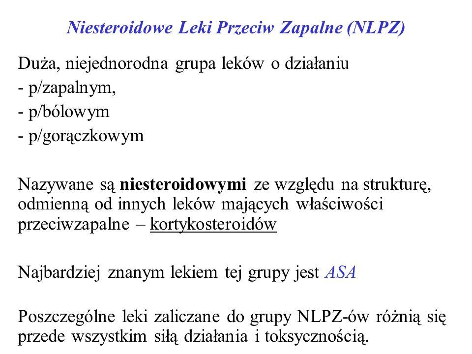 Niesteroidowe Leki Przeciw Zapalne (NLPZ) Duża, niejednorodna grupa leków o działaniu - p/zapalnym, - p/bólowym - p/gorączkowym Nazywane są niesteroidowymi ze względu na strukturę, odmienną od innych leków mających właściwości przeciwzapalne – kortykosteroidów Najbardziej znanym lekiem tej grupy jest ASA Poszczególne leki zaliczane do grupy NLPZ-ów różnią się przede wszystkim siłą działania i toksycznością.