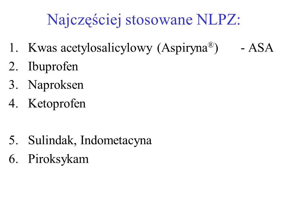 Najczęściej stosowane NLPZ: 1.Kwas acetylosalicylowy (Aspiryna ® )- ASA 2.Ibuprofen 3.Naproksen 4.Ketoprofen 5.Sulindak, Indometacyna 6.Piroksykam