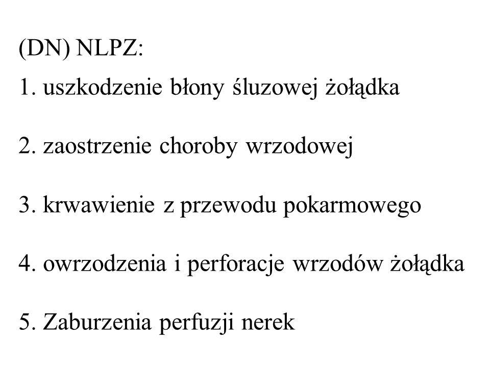 (DN) NLPZ: 1.uszkodzenie błony śluzowej żołądka 2.