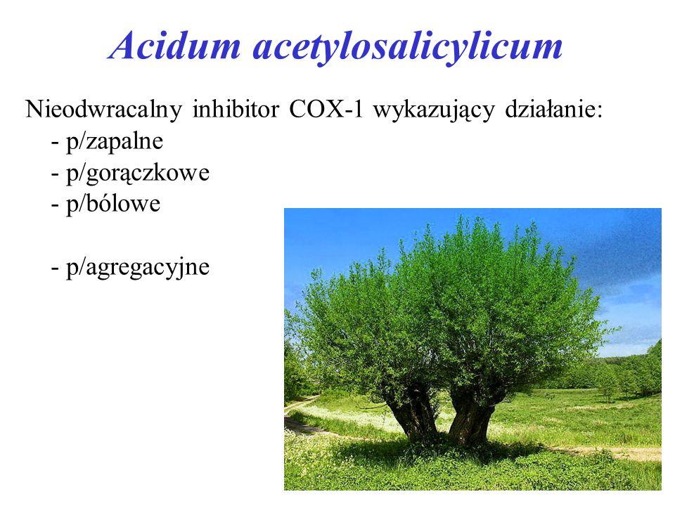Acidum acetylosalicylicum Nieodwracalny inhibitor COX-1 wykazujący działanie: - p/zapalne - p/gorączkowe - p/bólowe - p/agregacyjne