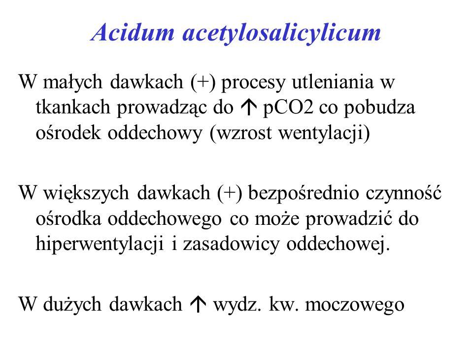 Acidum acetylosalicylicum W małych dawkach (+) procesy utleniania w tkankach prowadząc do pCO2 co pobudza ośrodek oddechowy (wzrost wentylacji) W większych dawkach (+) bezpośrednio czynność ośrodka oddechowego co może prowadzić do hiperwentylacji i zasadowicy oddechowej.