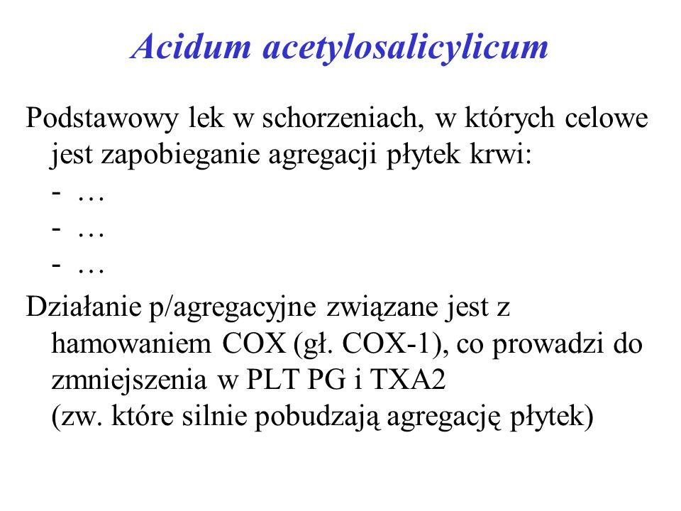 Acidum acetylosalicylicum Podstawowy lek w schorzeniach, w których celowe jest zapobieganie agregacji płytek krwi: - … - … - … Działanie p/agregacyjne związane jest z hamowaniem COX (gł.